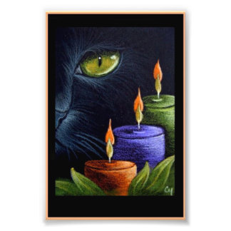 """HALLOWEEN BLACK CAT with CANDLES 4"""" X 6"""" PRINT"""