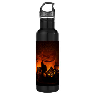 Halloween Black Cat with Luminaries and Bats 710 Ml Water Bottle