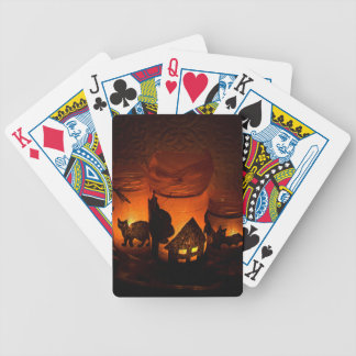 Halloween Black Cat with Luminaries and Bats Bicycle Playing Cards