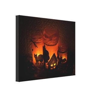 Halloween Black Cat with Luminaries and Bats Canvas Print