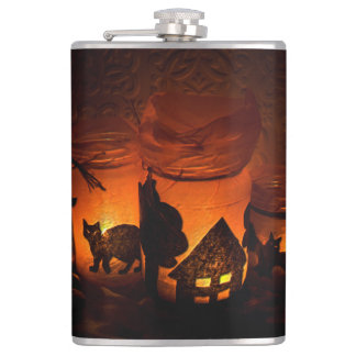 Halloween Black Cat with Luminaries and Bats Hip Flask