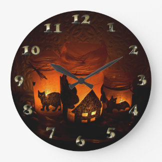 Halloween Black Cat with Luminaries and Bats Large Clock