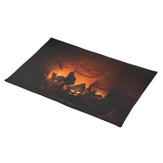 Halloween Black Cat with Luminaries and Bats Placemat