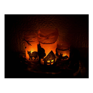 Halloween Black Cat with Luminaries and Bats Postcard