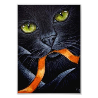 HALLOWEEN BLACK CAT WITH ORANGE RIBBON PRINT