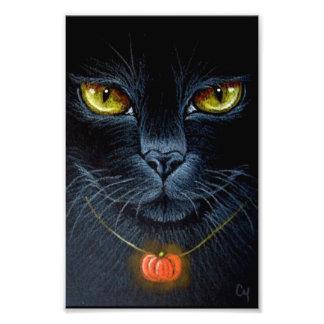 "HALLOWEEN BLACK CAT WITH PUMPKING PENDANT 4"" X 6"" PHOTO PRINT"