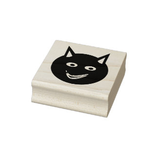 Halloween Black Cat Wood Art Stamp
