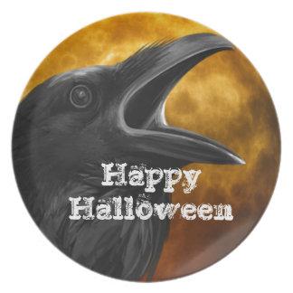 Halloween Black Crow Party Plates