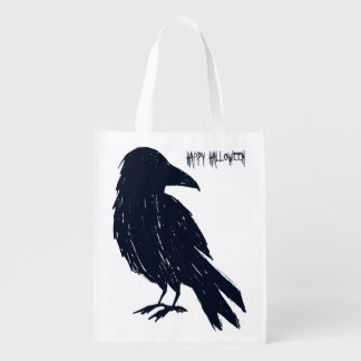 Halloween Black Crow Trick or Treat Grocery Bag