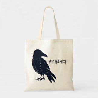 Halloween Black Crow Trick or Treat Tote Bag