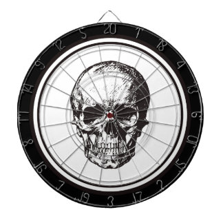 HALLOWEEN Black Gothic Damask Pattern Skull Dartboard
