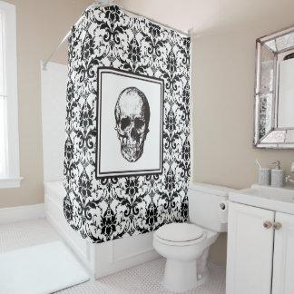 HALLOWEEN Black Gothic Damask Pattern Skull Shower Curtain