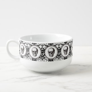 HALLOWEEN Black Gothic Damask Pattern Skull Soup Mug