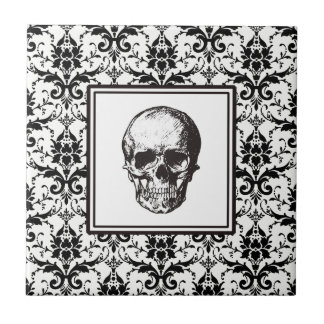 HALLOWEEN Black Gothic Damask Pattern Skull Tile