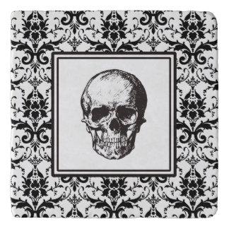 HALLOWEEN Black Gothic Damask Pattern Skull Trivet