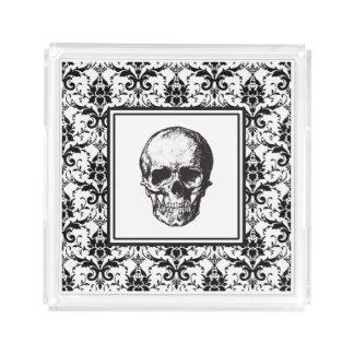HALLOWEEN Black Gothic Damask Pattern Skulls Acrylic Tray