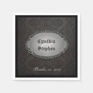 Halloween Black Gothic Names & Date Wedding Napkin Disposable Napkins