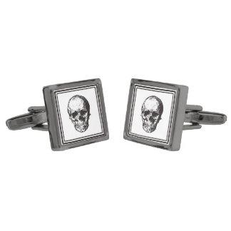 HALLOWEEN Black Gothic Skull Design Gunmetal Finish Cuff Links