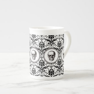 HALLOWEEN Black Gothic Style Damask Pattern Skull Tea Cup