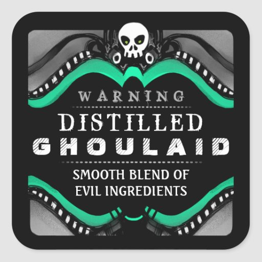 Halloween Black Green & White Drink or Treat Label Sticker