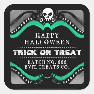 Halloween Black Green White Treat Label Sticker