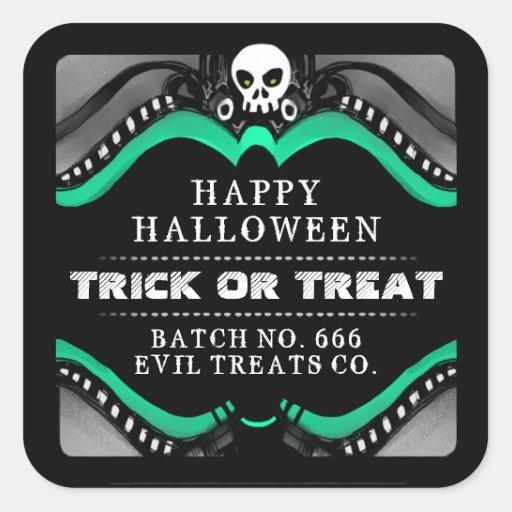 Halloween Black Green & White Treat Label Sticker