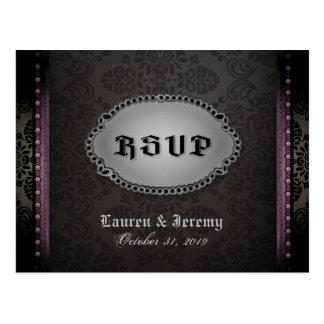 Halloween Black Grey Purple Gothic RSVP PostCard