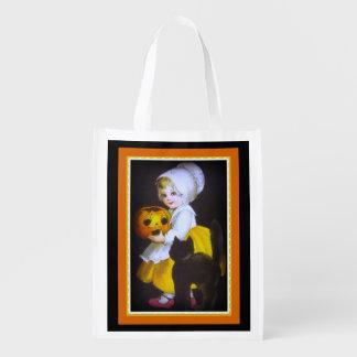 Halloween Black Kitten and Pumpkin Treat Bag