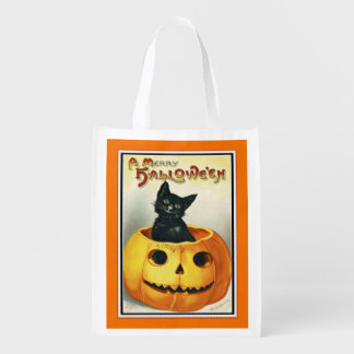 Halloween Black Kitten and Pumpkin Treat Bag