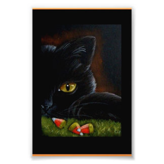 HALLOWEEN BLACK KITTEN CAT & CANDY CORNS PRINT