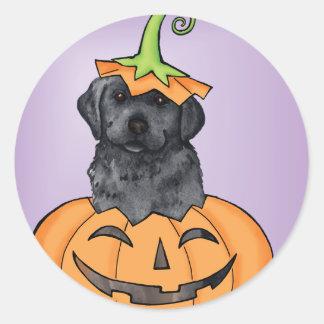 Halloween Black Lab Round Sticker