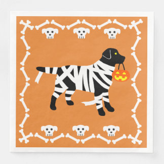 Halloween Black Labrador Mummy Disposable Serviette