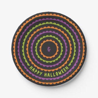 Halloween Black Orange Purple and Green Scallop Paper Plate