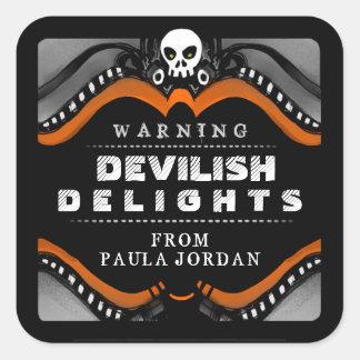Halloween Black Orange Treat Warning Label Stickers