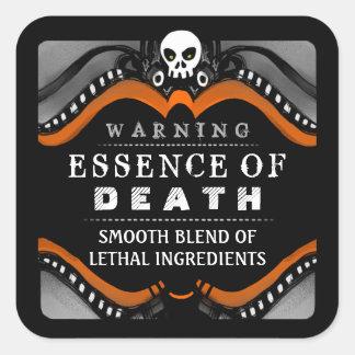 Halloween Black Orange White Drink or Treat Label Square Sticker