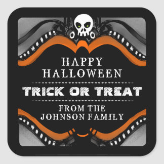 Halloween Black Orange White Skull Treat Label Square Sticker