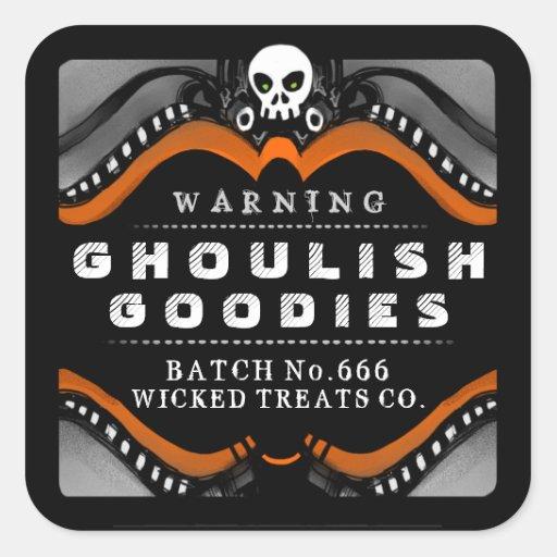 Halloween Black Orange White Treat Warning Label Square Stickers