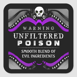 Halloween Black Purple White Drink or Treat Label Square Stickers