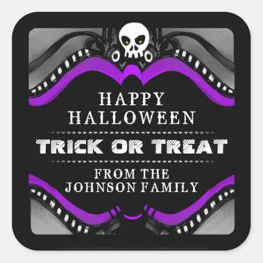 Halloween Black Purple White Treat Label Square Stickers