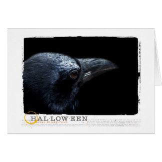 Halloween black raven greeting card