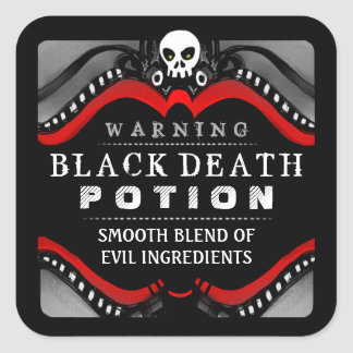 Halloween Black Red White Drink or Treat Label Square Sticker