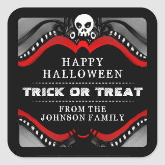 Halloween Black Red & White Treat Label Square Stickers