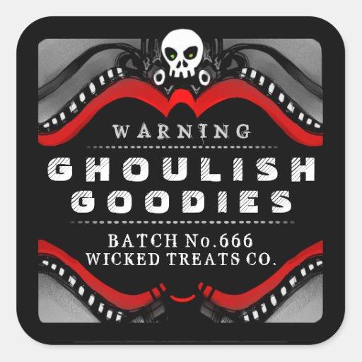 Halloween Black Red White Treat Warning Label Sticker