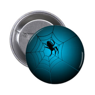 Halloween Black Spider on Web Pin