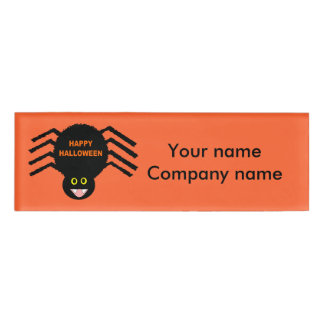 Halloween Black Spider Personalized Name Tag