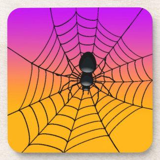Halloween black spider plastic coasters. drink coaster