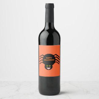 Halloween Black Spider Wine Bottle Labels