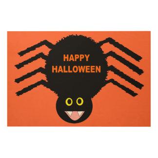 Halloween Black Spider Wood Canvas