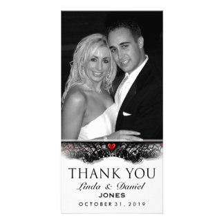 Halloween Black White Gothic LOVE Photo Thank You Customised Photo Card