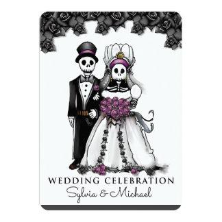 Halloween Black White Purple Skeleton Couple Card
